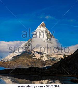 Monte Cervino, Monte Cervino, Mont Cervin, 4.478 m, Rotenboden, Pennine, Zermatt, Vallese, Svizzera Foto Stock