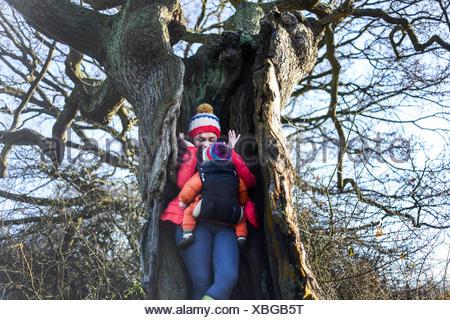 Donna in albero cavo, portando i giovani nella baby sling Foto Stock