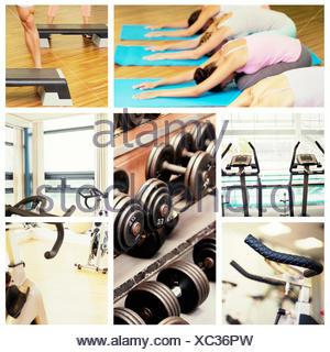 Immagine composita della classe di yoga in childs pongono in studio fitness Foto Stock