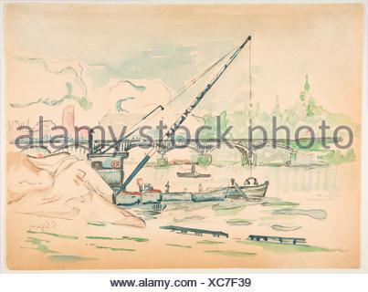 Le Pont des Arts. Artista: Paul Signac (francese, Parigi Parigi 1863-1935); data: n.d; medie: acquerello su gesso nero; dimensioni: foglio: 11 x 14 1/2 Foto Stock