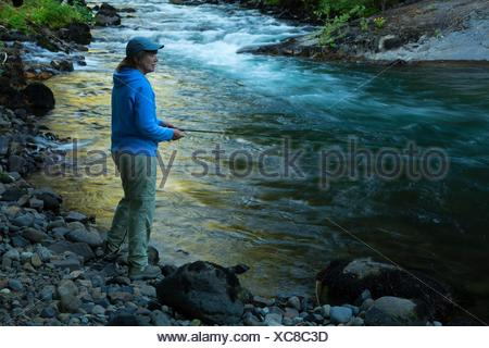 La pesca a mosca il fiume di Lewis, Gifford Pinchot National Forest, Washington. Foto Stock