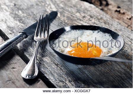 Uovo fritto, fritti in padella Foto Stock