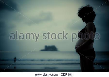 Profilo di donna incinta in piedi sulla spiaggia mentre tiene il suo ventre Foto Stock
