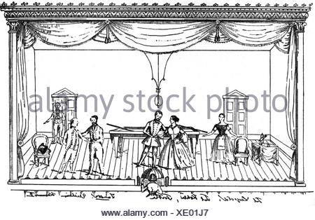 Lortzing, Albert, 23.10.1801 - 21.01.1851, del compositore tedesco, opere, opera 'Der Wildschuetz' (Il Bracconiere), biliardo scena, Additional-Rights-giochi-NA Foto Stock