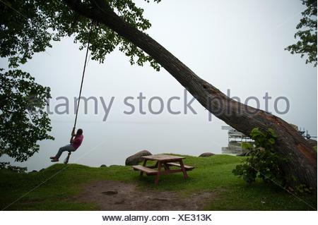 Una ragazza adolescente su un albero oscillante nel Minnesota. Foto Stock