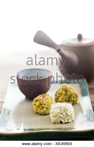 Il bianco e il verde tartufi Foto Stock