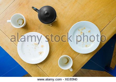Vista aerea del tavolo per la colazione Foto Stock