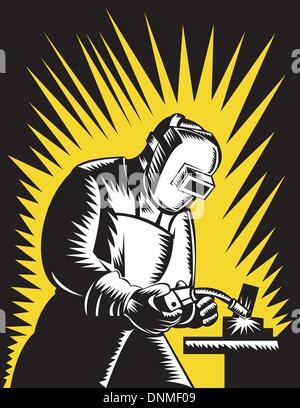 Ilustração de um trabalhador de metal com soldadura soldador maçarico de soldagem e visor feito em estilo retro Foto de Stock