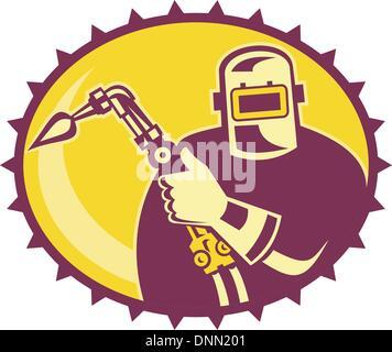 Ilustração de um soldador trabalhador psq com maçarico de soldagem situada no interior da elipse feito em estilo Foto de Stock