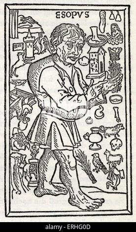 Fábulas de Esopo - xilogravura de uma edição alemã de Ulm, 1495