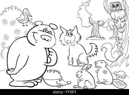 floresta animais selvagens de desenhos animados para livro para