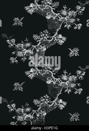 Preto e branco de ziguezague com padro floral vintage vertical preto e branco vertical de ziguezague com padro floral vintage desenhados mo apple blossom ramos thecheapjerseys Images