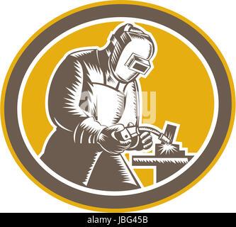 Ilustração do soldador psq trabalhador trabalhar usando maçarico de soldagem visualizaram a partir de ajuste do Foto de Stock