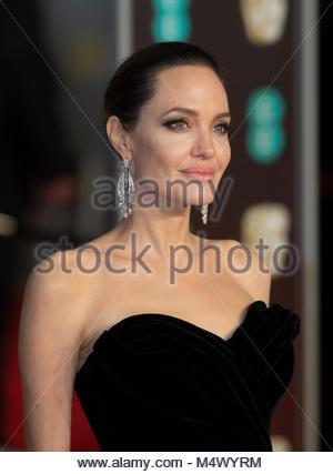 Londres, Reino Unido. 18 de Fevereiro 2018. Angelina Jolie no BAFTA Awards são realizadas no Royal Albert Hall, Foto de Stock