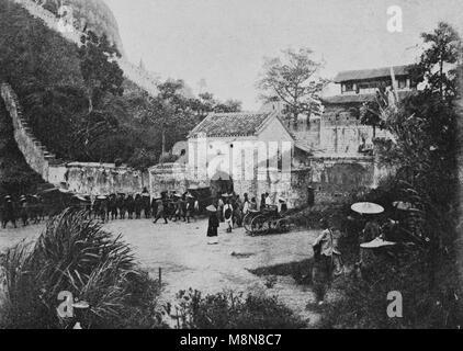 Inauguração da estação construída pela França entre Hanoi e a China, em 1900, a fotografia do semanário francês Foto de Stock