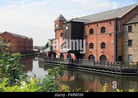 Wigan Pier, que ficou famosa por George Orwell, em Lancashire, no noroeste da Inglaterra, Reino Unido Foto de Stock