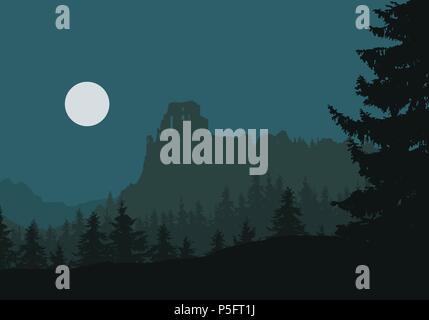 Ruínas de um castelo medieval em uma rocha entre florestas e montanhas, sob o céu noturno com lua - vetor Foto de Stock
