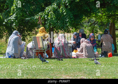 Glasgow, Escócia, Reino Unido. 2 de Julho, 2018. Reino Unido Tempo: um grupo de mulheres asiáticas sentada na grama tendo um piquenique em uma tarde ensolarada em pollok Country Park. Crédito: Skully/Alamy Live News Foto de Stock