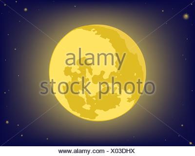 Lua no céu à noite. origens de vetor Foto de Stock