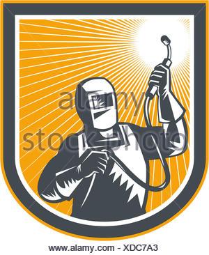 Ilustração do soldador psq trabalhador segurando maçarico de soldagem visto a partir da dianteira definido dentro da blindagem no fundo isolado feito em estilo retro. Foto de Stock